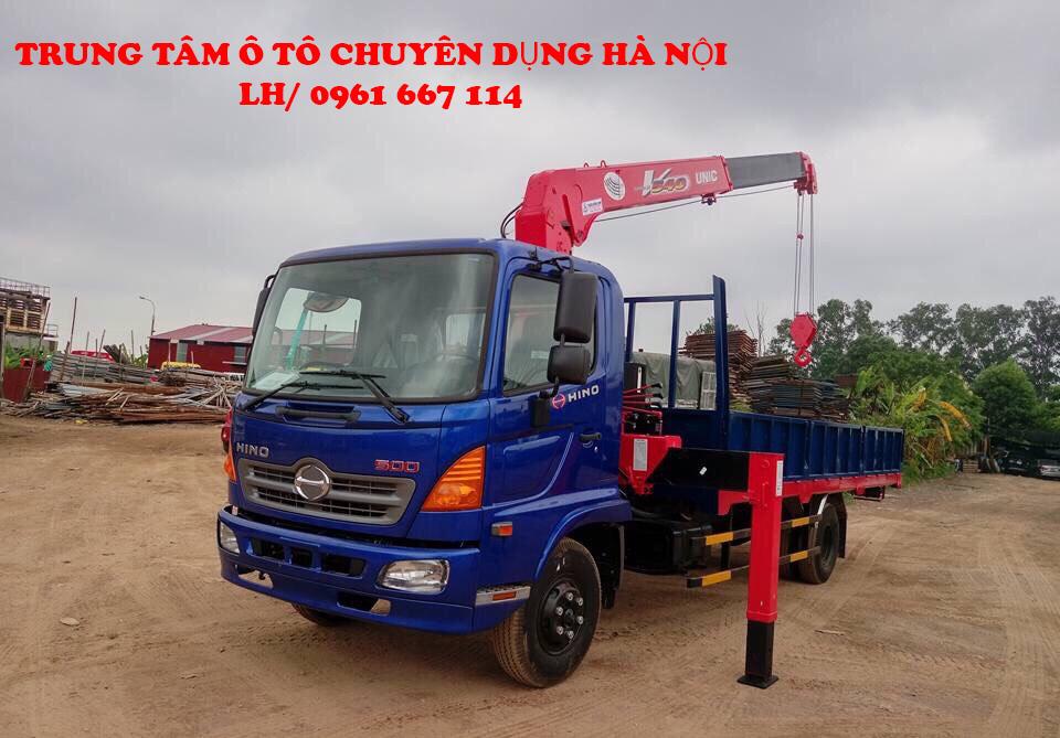 Xe tải 7 tấn HINO FC9JLSW gắn cẩu 5 tấn 4 đốt UNIC model URV554 thùng dài 6m | Hỗ trợ khách hàng mua xe trả góp 90% giá trị xe