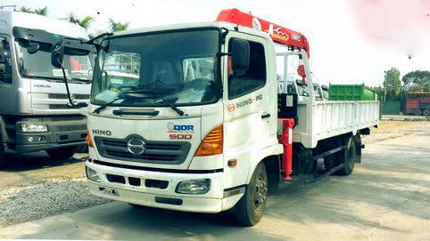 Xe tải 6,4 tấn HINO FC9JJSW gắn cẩu 3 tấn 3 đốt UNIC model URV343 thùng dài 5m | Hỗ trợ khách hàng mua xe trả góp 90% giá trị xe
