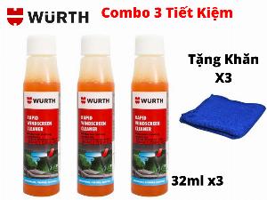 Combo 3 Chai Vệ Sinh Kính Lái Wurth Rapid Windscreen Cleaner 32ML Tặng 3 Khăn