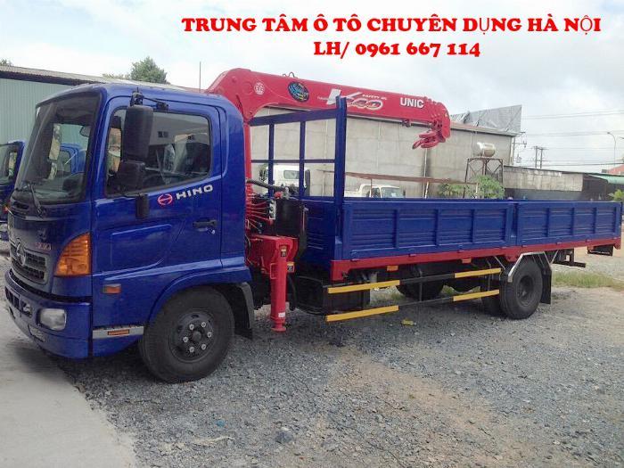 Xe tải 7 tấn HINO FC9JLSW gắn cẩu 5 tấn 4 đốt UNIC model URV554 thùng dài 6m | Hỗ trợ khách hàng mua xe trả góp 90% giá trị xe 2