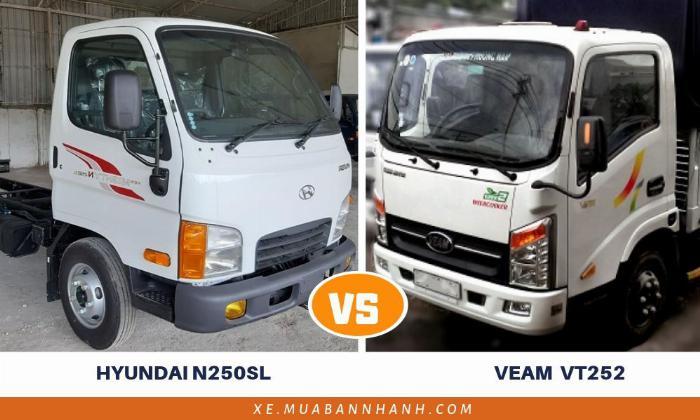 Xe tải Mighty N250SL với xe tải Veam VT252