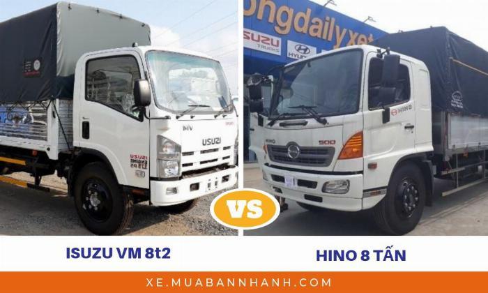 So sánh xe Isuzu 8t2 Vĩnh Phát với xe tải Hino 8 tấn