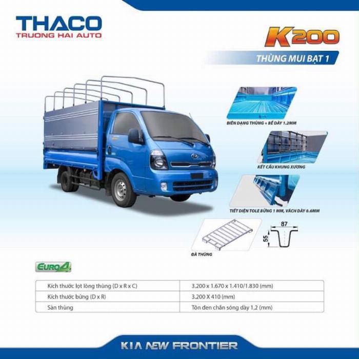 Xe tải Thaco KIA K200/K250, tải nhẹ chạy trong tp, hỗ trợ vay 75% 10