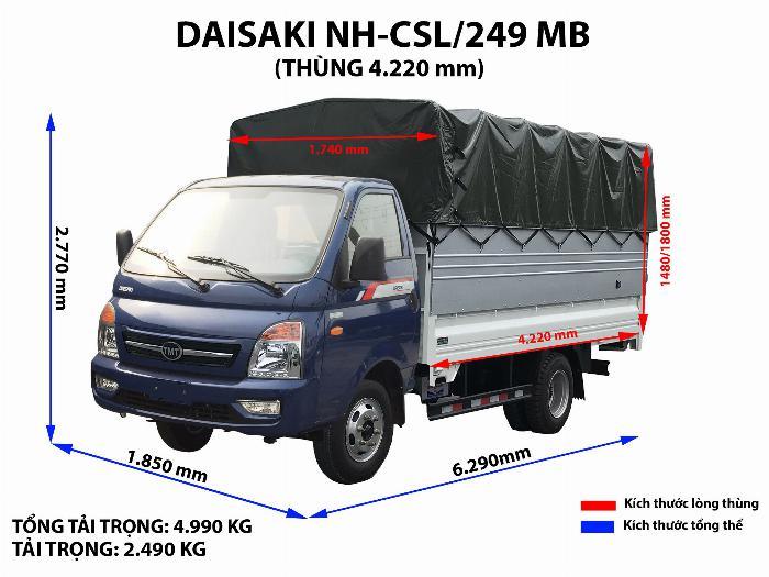 xe tải daisaki 2t5 thùng phủ bạc 3