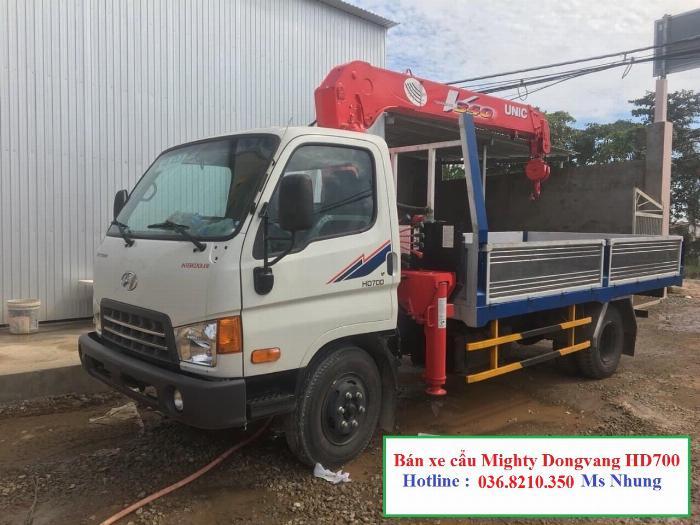 Xe Mighty Dongvang HD700 gắn cẩu Unic 344 tải trọng 5.250kg thùng dài 4m2