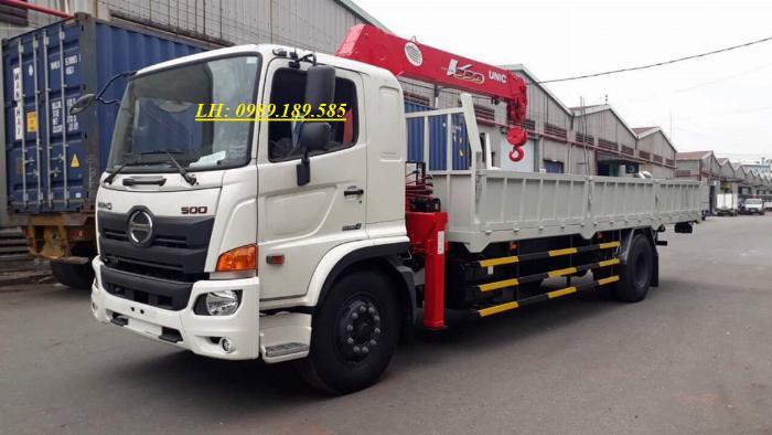Xe tải cẩu Hino 9 tấn lắp cẩu Soosan 5 tấn 4 khúc/đoạn SCS524