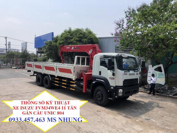 Xe ISUZU FVM34WE4 gắn cẩu Unic 804 tải trọng sau khi gắn cẩu 11 tấn kích thước thùng lọt lòng lên tới 8 mét