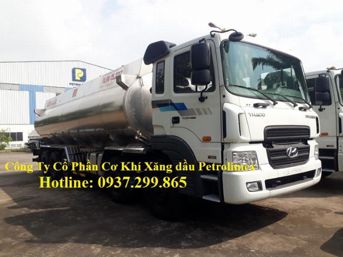 Xe bồn nhôm chở xăng dầu 28 khối 5 ngăn lắp trên xe Hyundai HD360 giá rẻ tại TPHCM