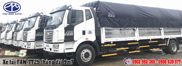 Xe tải Faw 7.25 tấn thùng bạt siêu dài 9m7 giá rẻ | Xe tải Faw 7.2 tấn thùng kín siêu dài 9.7m trả gốp