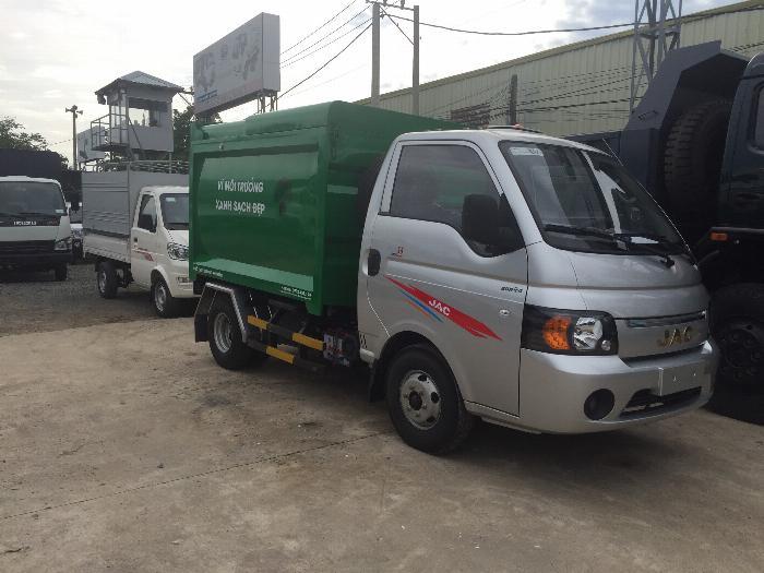 Xe ben chở rác jac 1.4 tấn thùng 3 khối vào đường hẽm 2