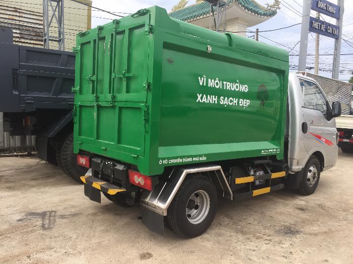 Xe ben chở rác jac 1.4 tấn thùng 3 khối vào đường hẽm 5