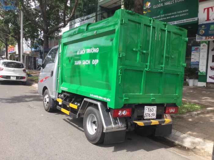 Xe ben chở rác jac 1.4 tấn thùng 3 khối vào đường hẽm 4