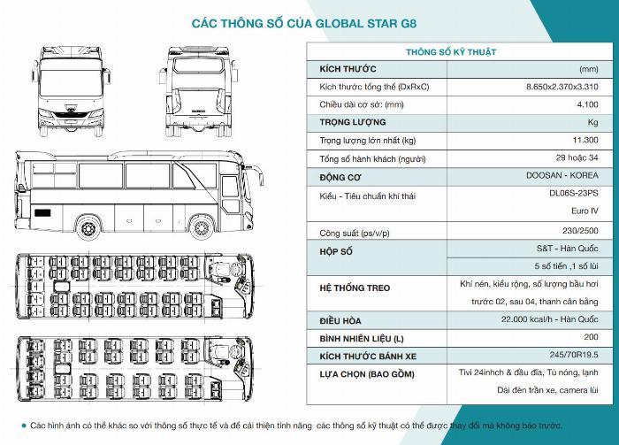 Bán DAEWOO GLOBAL STAR G8 29/34 chỗ 3