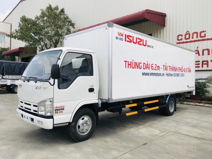 Đại lý xe tải isuzu 1t9 - thùng bạt 6m2 chở hàng bao bì giấy vào thành phố 0