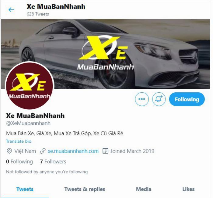 Twitter của Xe MuaBanNhanh
