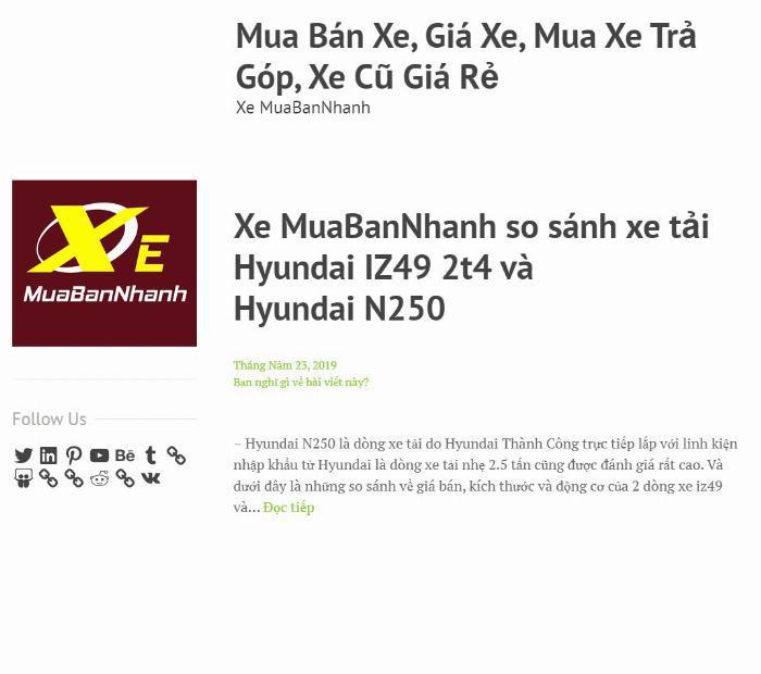 Wordpress Xe MuaBanNhanh