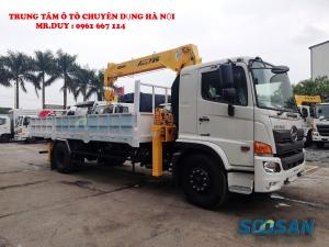 Xe tải 9.4 tấn Hino FG8JP7A gắn cẩu 6 tấn 5 đốt Soosan SCS735 thùng dài 6,5m | Hỗ trợ mua xe trả góp 85% giá trị xe