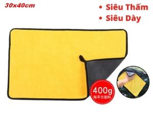 Khăn Lau Xe 2 Lớp Microfiber Vải Mềm Mịn Thấm Hút Nhanh 30x40cm