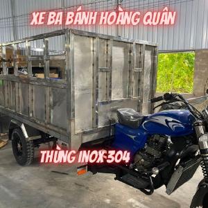Xe Ba Bánh Thùng Inox 304 - Xe Hoa Lâm Thùng Inox - Thùng Inox 304 Xe Ba Bánh