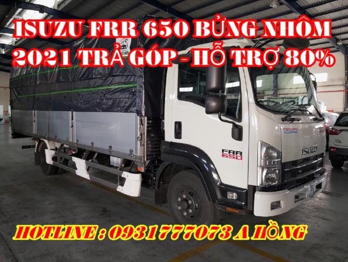 Giá Xe Tải Isuzu FRR 650 6.5 Tấn 2021 Mui Bạt Bửng Nhôm