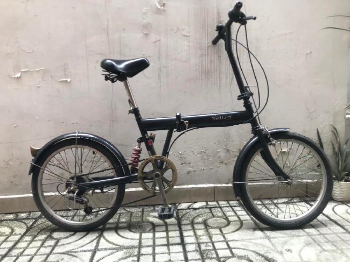 Xe đạp gấp nội địa Nhật, đồ zin theo xe màu Sơn đen nguyên bản.
