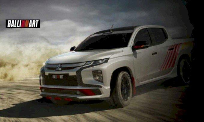 Mẫu bán tải Triton với bộ phụ kiện Ralliart kèm các điểm nhấn màu đỏ phong cách thể thao. Ảnh: Mitsubishi