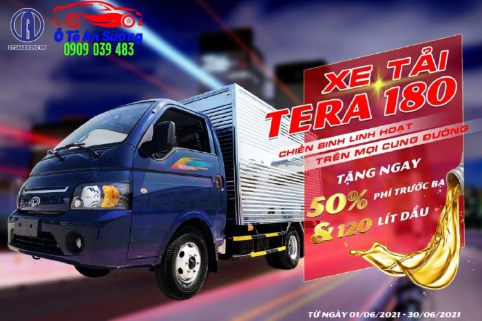 Xe tải TERA180 tải trọng 1T8 thùng hàng 3m2. Trả trước 69 triệu nhận xe.