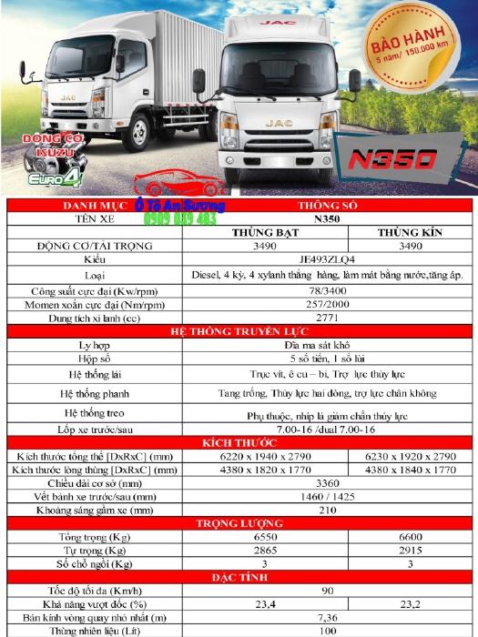 Xe tải JAC N350 tải trọng 3490kg trả trước 80tr nhận xe.